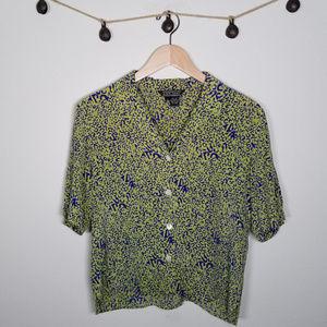 RARE Vintage Neon Green Cheetah Print Crop Blouse